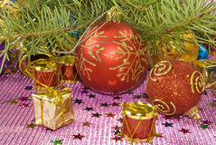 Image of many Christmas tree decorations Stock Images