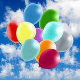 Image of many colorful balloons in the sky close-up. Image of many colorful balloons in the sky closeup Royalty Free Stock Images