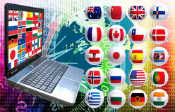 Image many flags and laptop close up Royalty Free Stock Photos