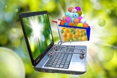 Image of many of lemons and oranges on laptop screen, stylized vitamins in the food trolley Royalty Free Stock Image