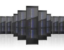 Image of many server racks. On white background Stock Photo