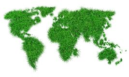 Green grass in the shape of a world map stock photo