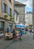 Image of the market in the streets of Les Vans Royalty Free Stock Photography