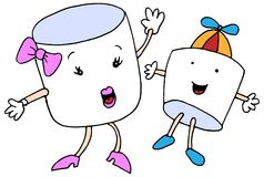 Marshmallow Mom Son Cartoon Characters Royalty Free Stock Photo