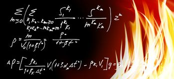 Mathematical formulas against fire background. Image of mathematical formulas against fire background Royalty Free Stock Images