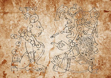 Image from the Mayan Dresden Codex. Line art - Mayan Calendar, image from the Dresden Codex. Cataclysm will take place on December 21, 2012 Stock Photography
