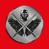 Image of medals with wings of a bird, the two crossed swords and battle helmet. Vector illustration. Stock Image