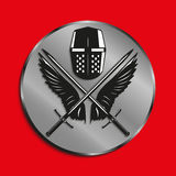 Image of medals with wings of a bird, the two crossed swords and battle helmet. Vector illustration. Royalty Free Stock Photography