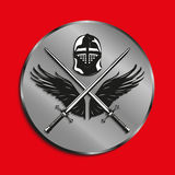 Image of medals with wings of a bird, the two crossed swords and battle helmet. Vector illustration. Royalty Free Stock Images