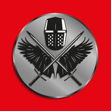 Image of medals with wings of a bird, the two crossed swords and battle helmet. Vector illustration. Royalty Free Stock Photos