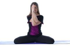 Image of meditating brunette isolated on white Stock Image