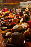 Image of medival kings table full of food Royalty Free Stock Photo
