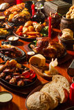 Image of medival kings table full of food Stock Image