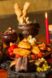 Image of medival kings table full of food Stock Photo