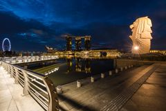 Early morning at Merlion Park stock images