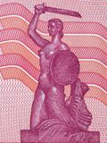 Image of the Mermaid Statue on the bank of the Vistula River. From Polish money royalty free stock photos