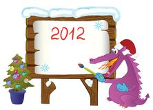 The image-message for winter holidays. Cute fire-spitting Dragon, isolated on a white background, symbol 2012 year, writes on a forest board your message about royalty free illustration