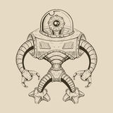 Image metal robot with an eye in flask instead of. The head. Vector illustration vector illustration