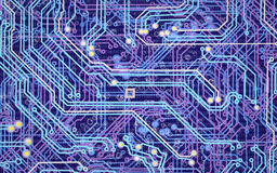 Image of microcircuit against a blue background Royalty Free Stock Photos