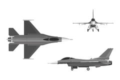 The image of military aircraft. Three views of airplane: top, si. De, front. Vector illustration Royalty Free Stock Images