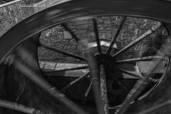 New Lanark: Mill Wheel B/W Royalty Free Stock Image