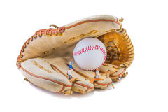image of mini figure dolls with base ball glove and ball Royalty Free Stock Photo