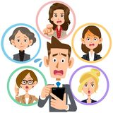 Mobile phone network dispute Young man and women workers royalty free illustration