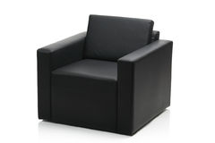 Image of a modern black leather armchair Stock Images