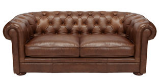 Image of a modern brown leather sofa Stock Photography