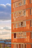 Image of modern building. Brick wall with windows Royalty Free Stock Photography