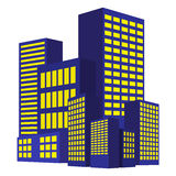 Image of modern building, Urban cityscape, City Lights, metropolis. Vector illustration  on white background. Stock Images