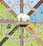 Metropolis and environs. Image of a modern city with cars and roads vector illustration