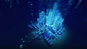 The image of a modern city in the stream of digital technologies. Night city. Cyclic animation stock video footage