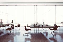 Image modern workspace loft with panoramic windows.Generic design computers and generic white furniture in contemporary Stock Image