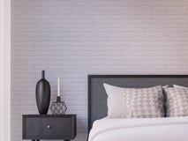 Image moderne de rendu de la chambre à coucher 3d de grenier Images libres de droits
