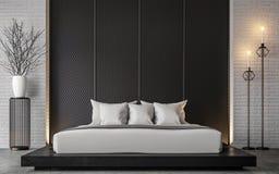 Image moderne de rendu de la chambre à coucher 3d de grenier Photos libres de droits