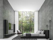 Image moderne de rendu de la chambre à coucher 3d de grenier Photographie stock libre de droits