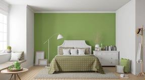 Image moderne de rendu de la chambre à coucher 3d de vintage Photos libres de droits