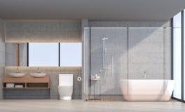 Image moderne de rendu de la salle de bains 3d de grenier illustration stock