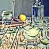 Image modifiée la tonalité Vodka, tequila, genièvre Cocktail alcoolique avec de la glace et chaux ou citron images stock