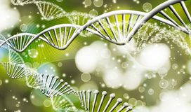 Image of molecular structure and chain of dna on a green background closeup Royalty Free Stock Photos