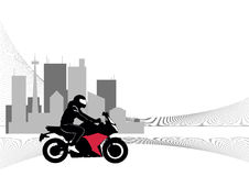 Image of motorcyclist riding on the background of the city Stock Images