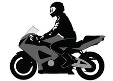 Image of motorcyclist riding on a motorcycle Stock Image