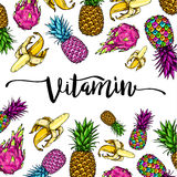 Image with multicolored fruit lettering vitamin on white background, pineapples, bananas, dragon fruit. Print t-shirt. Image with multicolored fruit lettering Royalty Free Stock Photo