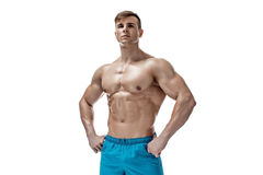Image of muscle man posing in studio Royalty Free Stock Photography