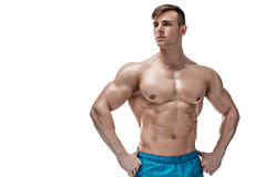Image of muscle man posing in studio Stock Photo