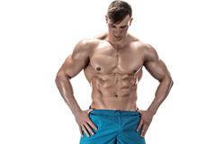 Image of muscle man posing in studio Stock Images
