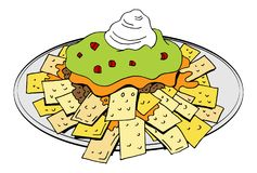Nachos Plate Cheese Guacamole Sour Cream. An image of a Nachos Plate Cheese Guacamole Sour Cream isolated on white Stock Photo
