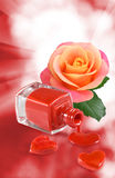 image of nail polish, decorative hearts and flower rose Stock Photo