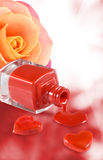 image of nail polish, decorative hearts and flower rose Royalty Free Stock Images